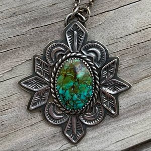 Carico Lake Turquoise Stamped Necklace